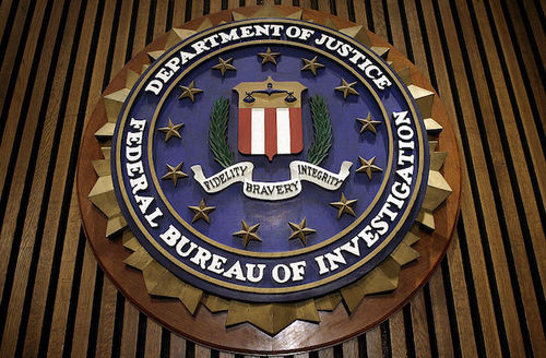 FBI seal on a wall