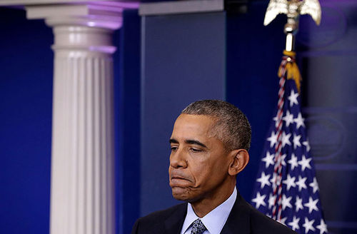 Former President Barack Obama holds the last news conference of his presidency in the Brady Press Briefing Room at the White House January 18, 2017, in Washington, D.C.