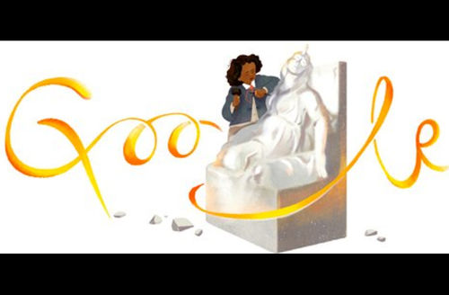 """Black woman on white stone sculpture with gold text spelling """"Google"""" against White background"""
