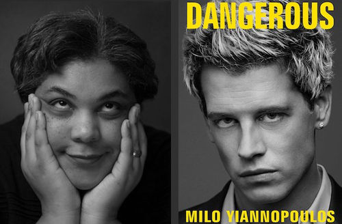 """Black and white photo of Roxane Gay, cover of """"Dangerous,"""" which features a black and white image of Milo Yiannopoulos' face"""