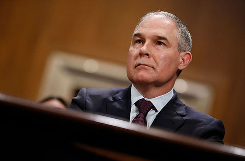 Oklahoma Attorney General Scott Pruitt, President Donald Trump's choice to head the Environmental Protection Agency, testifies during his confirmation hearing before the Senate Committee on Environment and Public Works on Capitol Hill January 18, 2017.