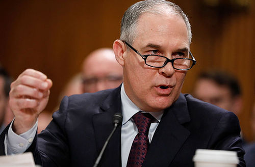 EPA administrator Scott Pruitt,, testifies during his confirmation hearing before the Senate Committee on Environment and Public Works on Capitol Hill January 18, 2017, in Washington, D.C.