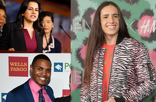 Nanette Barragán, top left. Ritchie Torres, bottom left. Xiuhtezcatl Martinez, right.