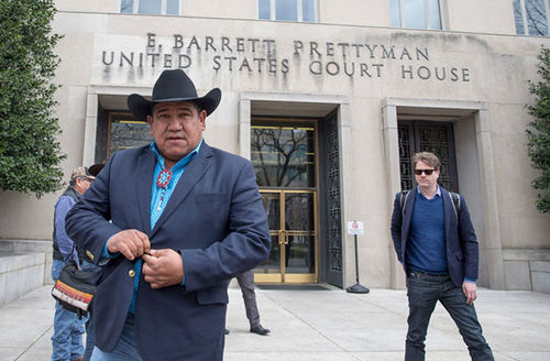 Harold Frazier, chairman of the Cheyenne River Sioux Tribe, leaves the U.S. District Court for the District of Columbia on February 28, 2017, in Washington, D.C., for an earlier hearing on the court case.
