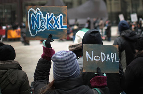 Demonstrators rally downtown before marching to Trump Tower while protesting the construction of the Dakota Access pipeline on February 4, 2017, in Chicago, Illinois.