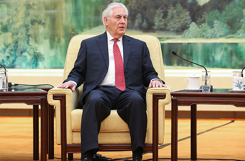 Secretary of State Rex Tillerson meets with Chinese President Xi Jinping (not pictured) at the Great Hall of the People on March 19, 2017, in Beijing, China.