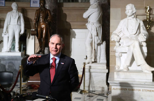 EPA Administrator Scott Pruitt does a television interview at the U.S. Capitol before President Donald Trump delivers a speech to a joint session of Congress on February 28, 2017.