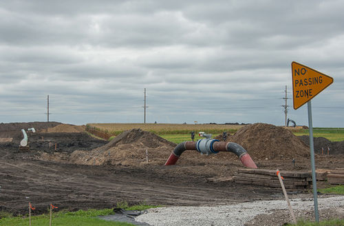 The Dakota Access Pipeline progressing across Southern Story and Northern Polk Counties in Central Iowa on September 13, 2016, when it was still being built.