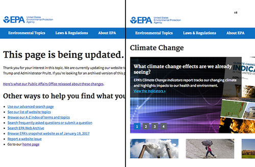 Colorlines screenshot of archived and current EPA 'climate change' pages, taken on May 1, 2017.