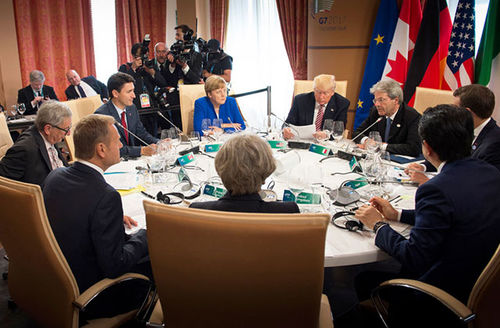 G-7 leaders attend a working lunch during the Summit of the Heads of State and of Government of the G-7 on May 26, 2017, in Taormina, Italy.