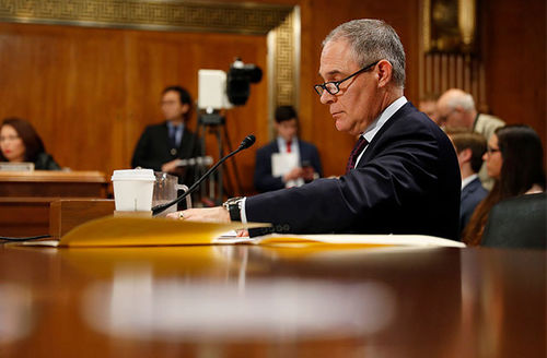 EPA Administrator Scott Pruitt testifies during his confirmation hearing before the Senate Committee on Environment and Public Works on Capitol Hill January 18, 2017, in Washington, D.C. Scientists are now refuting comments he made during this hearing.