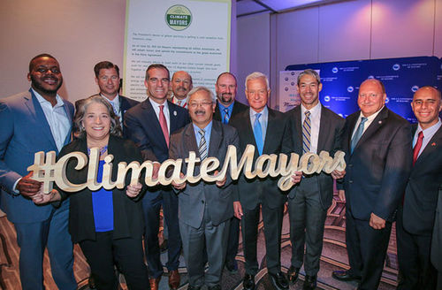 Los Angeles Mayor Eric Garcetti joins fellow Climate Mayors at the U.S. Conference of Mayors on June 24, 2017, in Miami Beach.