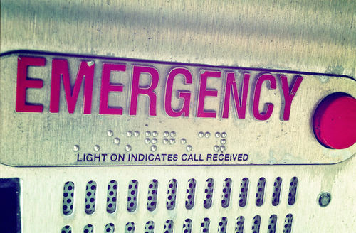 """Red button, says """"emergency"""""""