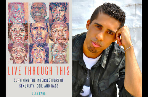 Grey book cover with multi-colored artist renderings of faces and red and black text; Black man in grey and black jacket and white t-shirt with black letters in front of white brick wall