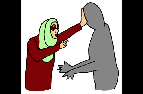 Illustration of Brown woman in light green hijab and maroon outfit pushing away grey figure in front of white Background
