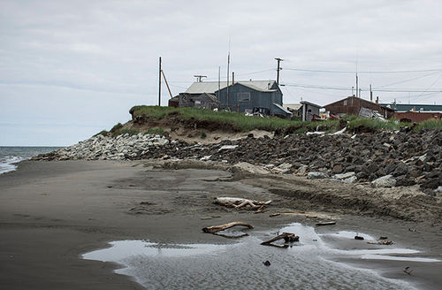 A view of the beach along a barrier island in the Chukchi sea, on July 8, 2015, in Shishmaref, Alaska. This Alaska Native community would be opened up to offshore drilling, under the Trump administration.