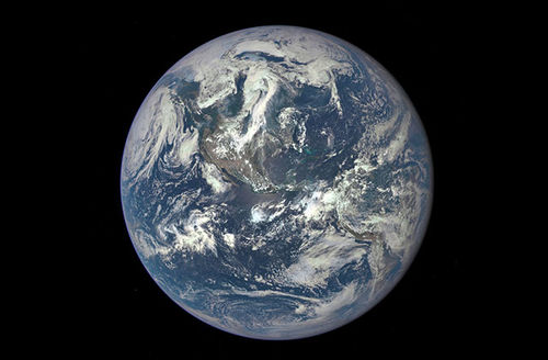 Earth as seen from a distance of 1 million miles by a NASA scientific camera aboard the Deep Space Climate Observatory spacecraft on July 6, 2015.