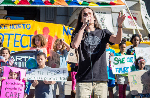 Xiuhtezcatl Martinez, 16, speaks at a rally for the federal climate lawsuit, of which is a plaintiff, on February 20, 2017, in Denver.
