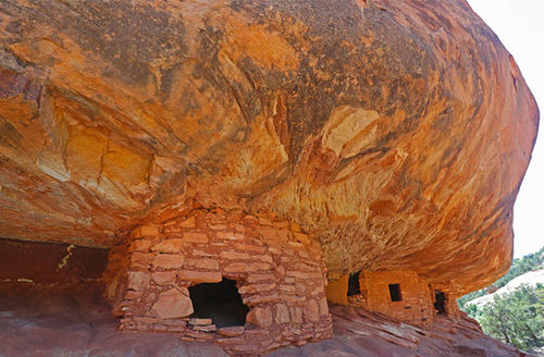 Ancient granaries, part of the House on Fire ruins, are shown here in the South Fork of Mule Canyon in the Bears Ears National Monument on May 12, 2017, outside Blanding, Utah.