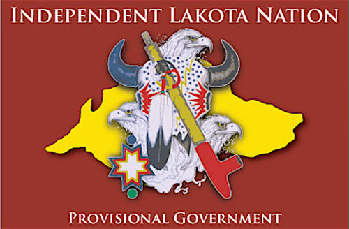 Dark red flag with yellow nation, black-and-white animal skull and hornes and white eagle heads and yellow and red baton in center logo