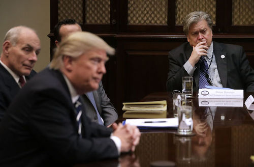 Donald Trump, Steve Bannon. White men sit at a table