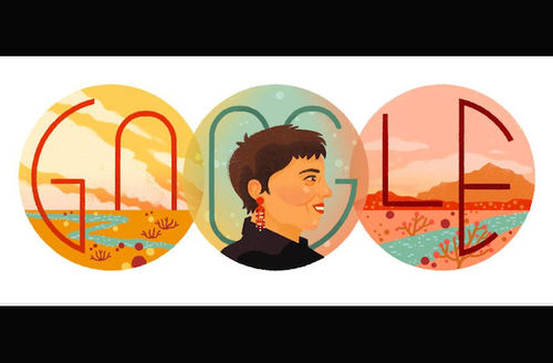 Illustration of Brown woman with black shirt and red earring between images of brown desert sand with blue river