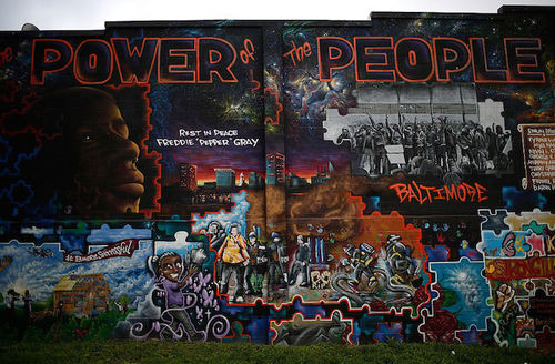 Mural features Freddie Gray's face