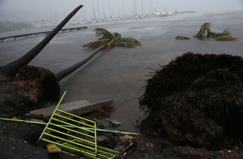 Debris is seen during a storm surge near the Puerto Chico Harbor during the passing of Hurricane Irma on September 6, 2017 in Fajardo, Puerto Rico.