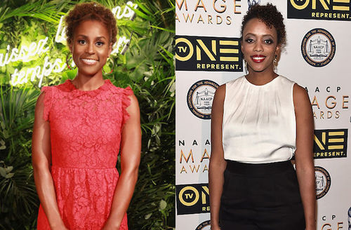 Black woman in pink dress in front of green plants and yellow light-up sign; Black woman in white blouse in front of white screen with black insignia