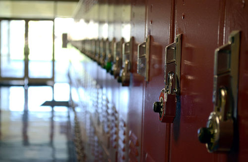 A row of red lockers