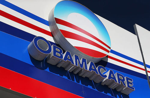 """Red, white and blue """"Obamacare"""" sign."""