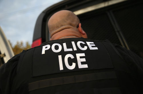 Back of a immigration enforcement officer wearing a black shirt and vest that say Police ICE in white letters.