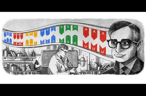 Black-and-white illustration of Brown man surrounded by laboratory equipment framed by red and blue and yellow and green panels with grey text