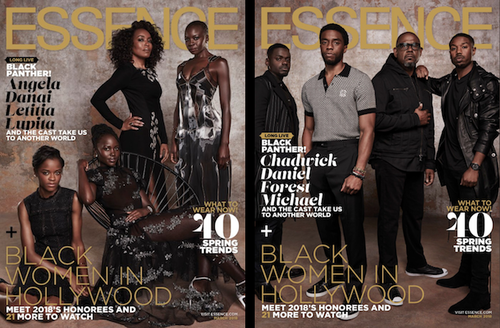 Four Black women in black and grey dresses sit and stand in front of brown background and behind black and gold and white text; four Black men in grey and black clothing stand in front of brown background and behind black and gold and white text