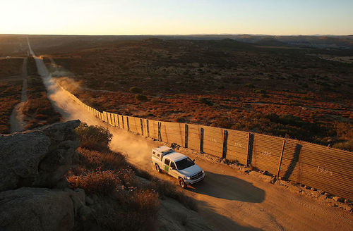 US Border Patrol agents carry out special operations near the US-Mexico border fence, some 60 miles east of San Diego, California