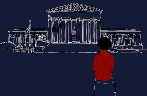 Illustration of Black child with black hair in red shirt while seated on white outline of stool in front of white outline of government building on navy background
