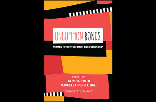 """Cover of the book """"Uncommon Bonds"""" designed with pink orange black and white geometric patterns"""