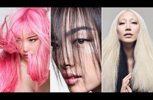 Asian woman with pink hair in front of grey background; Asian woman with black hair in front of grey background; Asian woman with blonde hair in front of grey background
