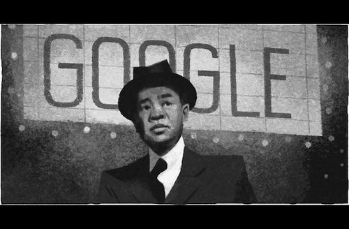 Greyscale illustration of Asian man in white shirt and black suit and tie and hat in front of grey background with light grey marquee and grey text