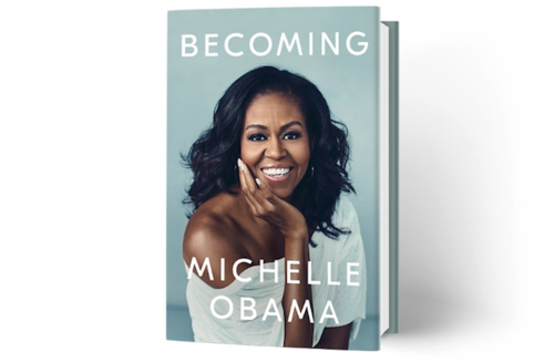 Book cover with Black woman in white sweater on light blue background behind white text stands on white screen