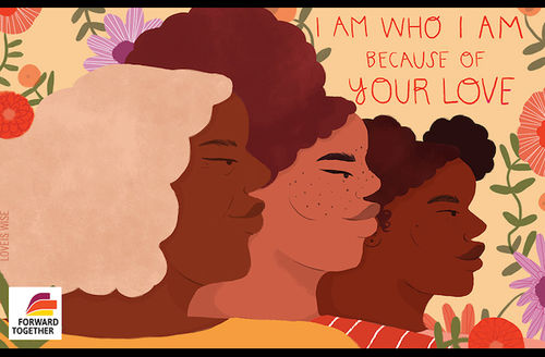 Illustration of three Black women with blonde, brown and black hair in front of brown background with green plants, red and purple flowers and orange text over yellow and pink base