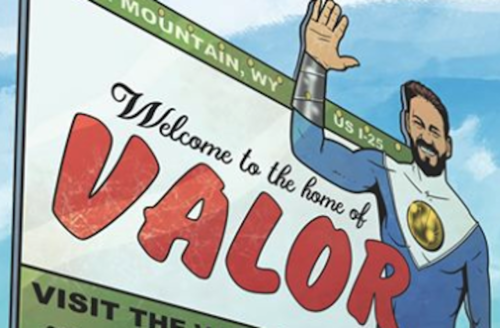 Illustration of Brown man in blue and white superhero uniform on billboard with white and green sections and red and black text in front of blue sky