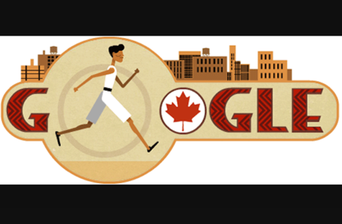 Illustration of Brown man with black hair in white and grey and black running uniform on white background with red maple leaf and text and brown buildings