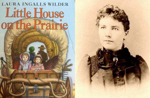 Illustrated book cover depicting White children and adults in brown wagon in front of blue sky on green grass; sepia image of White woman in dark dress