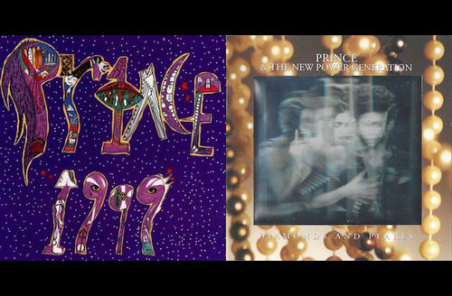 Purple album cover with multicolored text; album cover with black-and-white hologram of multiple people surrounded by brown image of pearls with white text