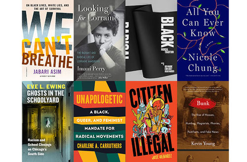 Two rows of four books including the titles we can't breather, looking for lorraine, black radical tradition, all you can ever know, ghosts in the schoolyard, unapologetic, citizen illegal and bunk