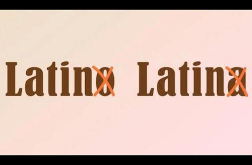 """Brown text with two orange """"x"""" marks on light orange and pink background"""