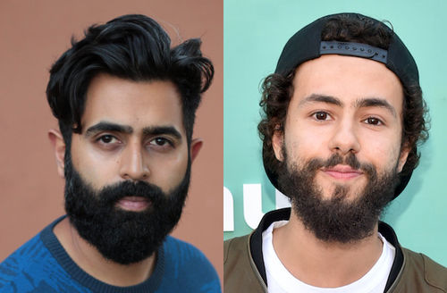Sameer Gardezi. Brown man with black hair and beard in blue sweater in front of dark orange wall; Ramy Youssef. Brown man with brown hair and beard in black hat and green and black jacket and white shirt in front of light green wall with white text