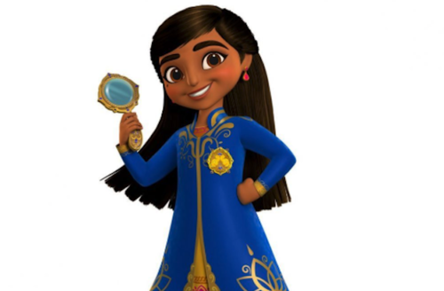 Mira. Illustration of Indian girl in blue and gold outfit holding gold and blue magnifying glass in front of white background