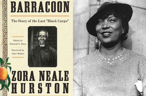 Black-and-white photo of Black man on brown background with black text; Zora Neale Hurston. Black woman in formal attire and hat in front of wall in black-and-white photo.
